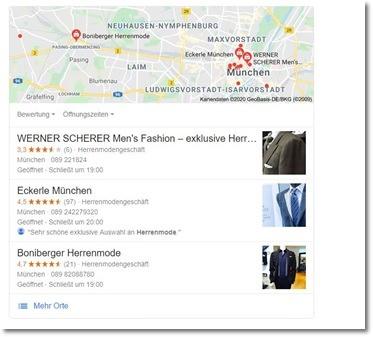 Google My Business Anzeige