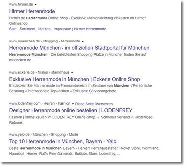 Organische Anzeige Google